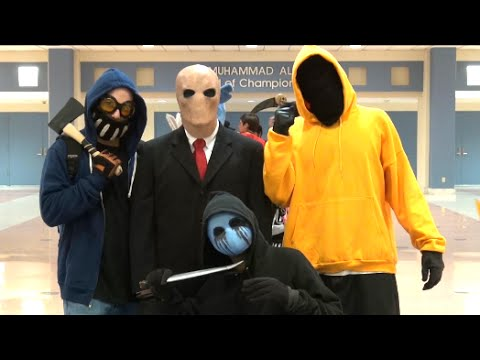 Creepypasta in public - Slender Man, Eyeless Jack, Ticci Toby and Hoody