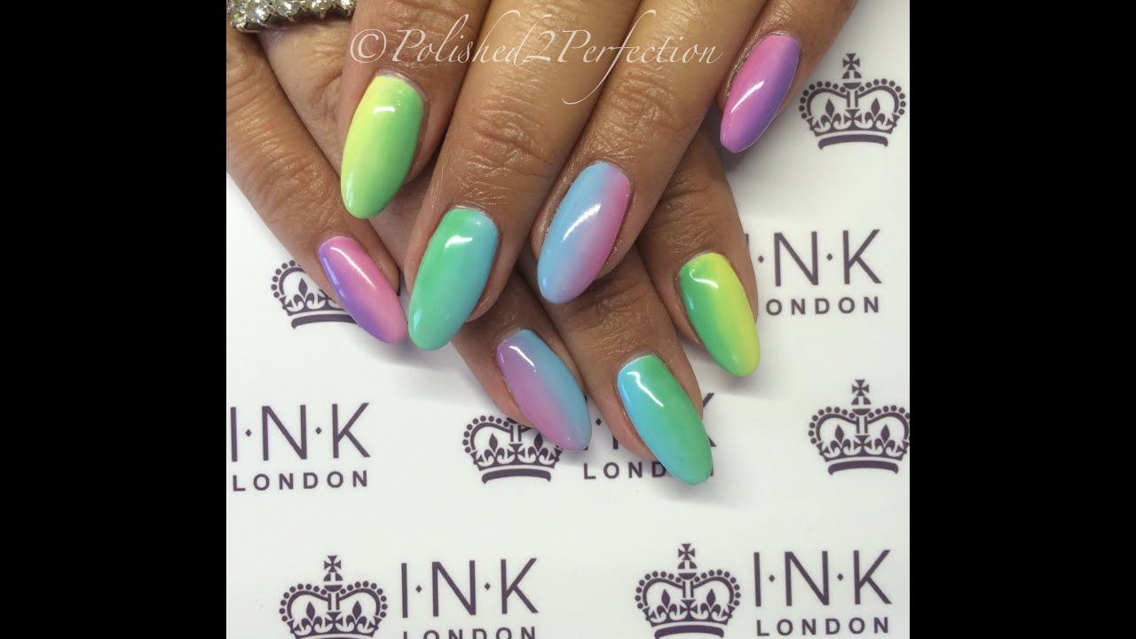 Rainbow Pastel Gradient Nails | INK London iLac - YouTube