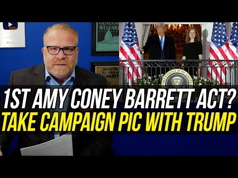 shameful!!!-amy-coney-barrett's-first-act-after-swearing-in-was-posing-for-trump-campaign-photo!