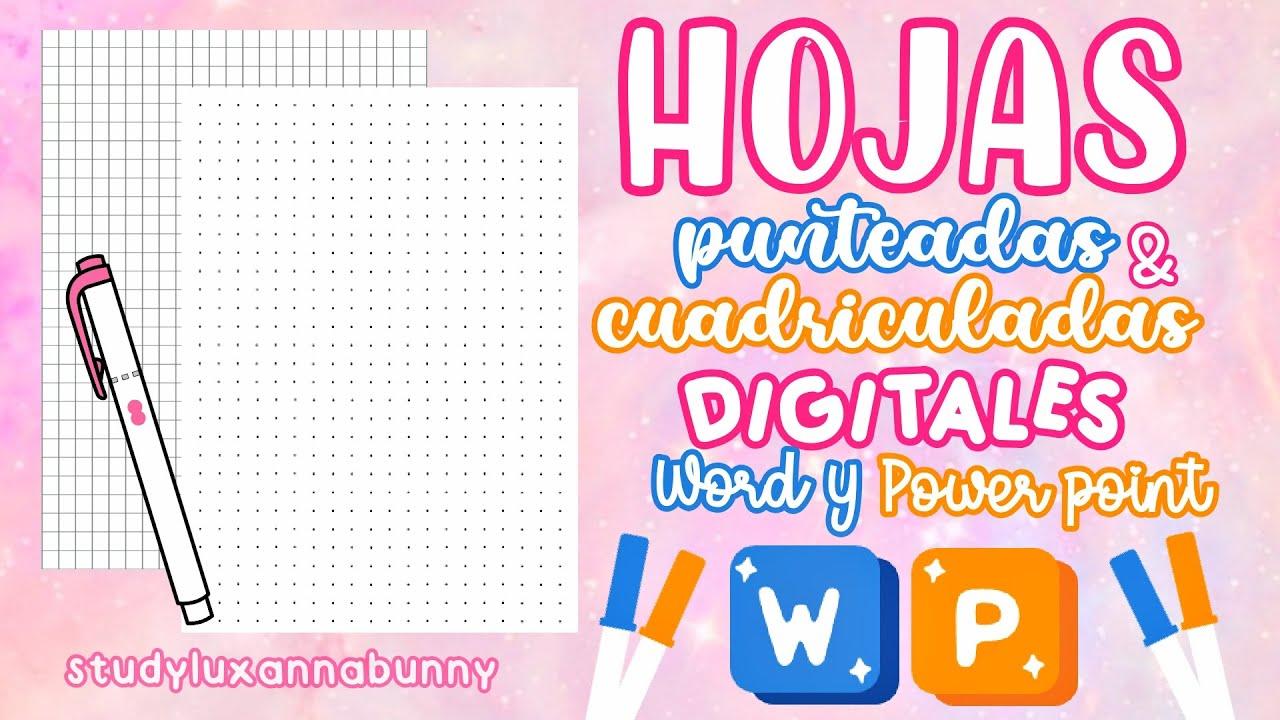 Hojas Punteadas & Cuadriculadas en Word & Powerpoint|Apuntes Digitales Bonitos |Apuntes en Word
