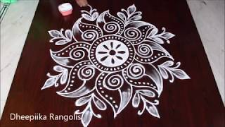 creative freehand muggulu design without dots * simple kolam for beginners * easy rangoli patterns