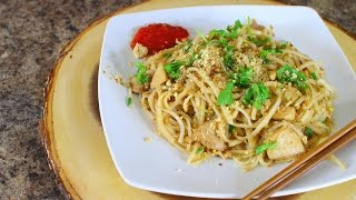 Chicken Pad Thai Recipe - thai food cooking - rice noodles