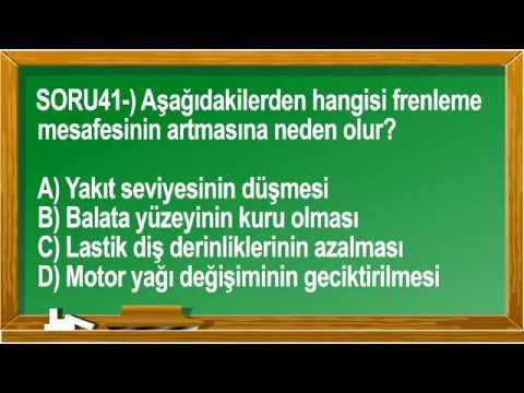 10 Şubat 2018 Ehliyet Sınav Soruları - Meb Ehliyet TV