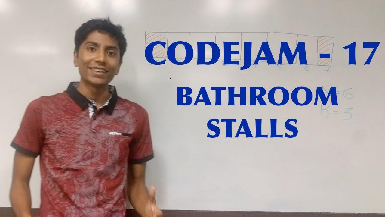 Bathroom Queue priority queue - codejam 17 - bathroom stalls - youtube
