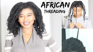How To Stretch Natural Hair Without Heat | AFRICAN Threading || Jacinta Nwabuogu
