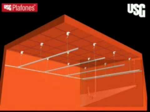 Construcciontv usg instalaci n de plafones reticulares usg for Plafones de madera pared