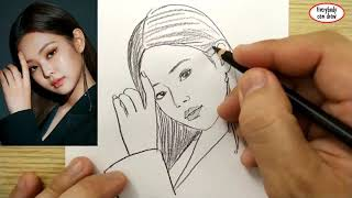 VERY EASY , How to draw jennie blackpink , south korean girl band kpop / learn drawing academy