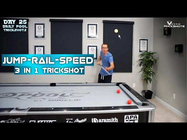DAILY Pool Trick Shot - DAY 25 -Jump Rail Speed - Venom Trickshots