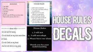 Roblox Bloxburg - House Rules Decal Id's