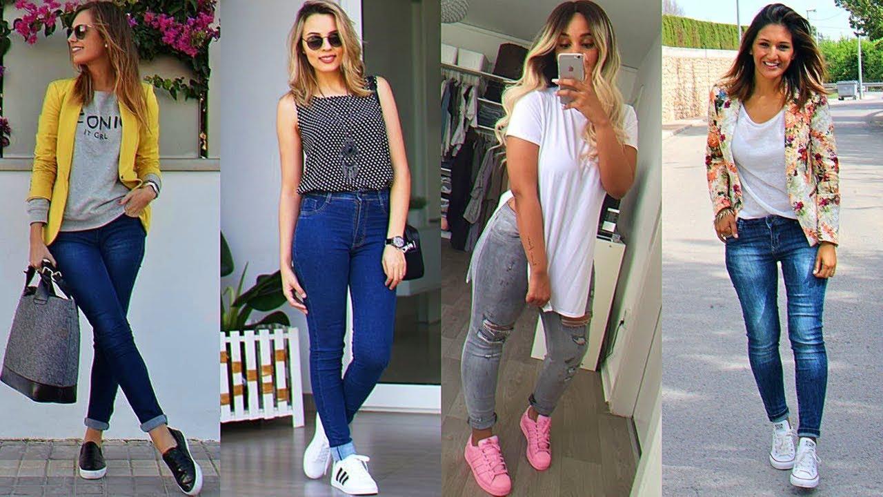 Jeans De Moda Combinado Con Tenis