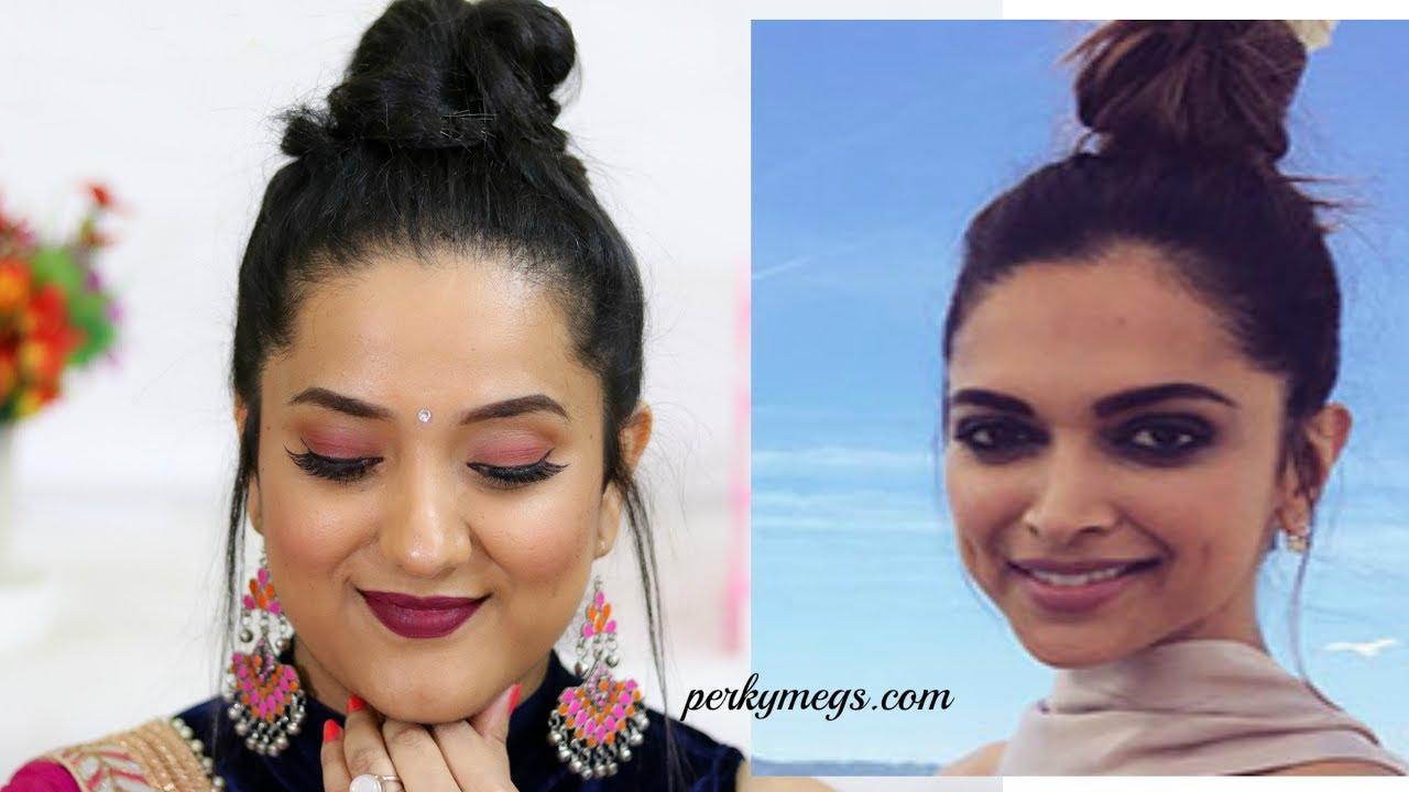 Deepika Padukone High Bun Hairstyle Quick 5 Min Hair Bun For Navratri Weddings Festival