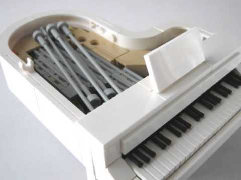 Lego white grand piano legoland size youtube for What size is a grand piano