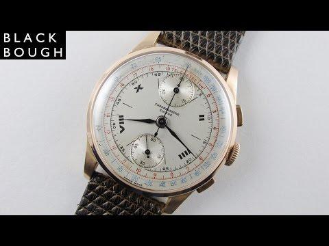 Pink gold Chronographe Suisse vintage wristwatch, circa 1950