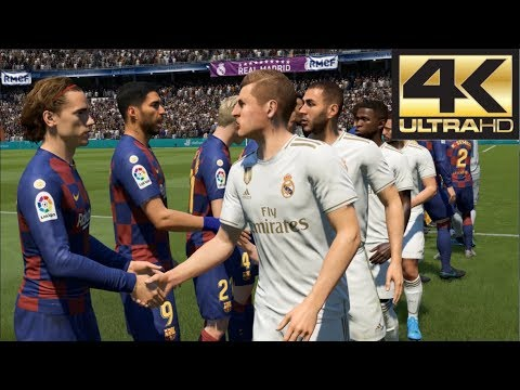 FIFA 20 4K Gameplay Barcelona Vs Real Madrid El Clasico (Xbox One, PS4, PC)