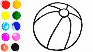 Cómo Dibujar y Colorear Una Pelota de Arco Iris - Dibujos Para Niños - Learn Colors / FunKeep