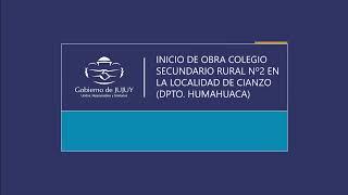 EN VIVO. Inicio de obra colegio secundario rural nº2 en la localidad de Cianzo