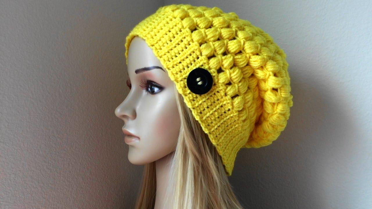 d6da301b83c How To Crochet A Puff Stitch Hat