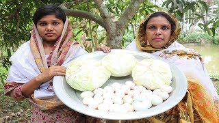 How to Cook - Cabbage Egg Fry Recipe / Badhakopi & Dim Bhaja So Yummy / Village Food Cabbage Egg Fry