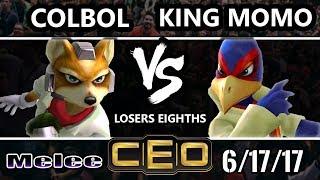 CEO 2017 Smash Melee - SS | Colbol (Fox) Vs MVG | King Momo (Falco) Melee L7ths