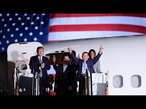 Donald And Melania Trump Greet Three Americans Freed By North Korea