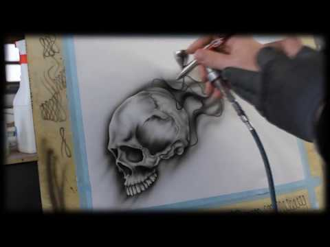 Airbrush Anleitung für Anfänger - How To airbrush for beginners - Skull Videotutorial