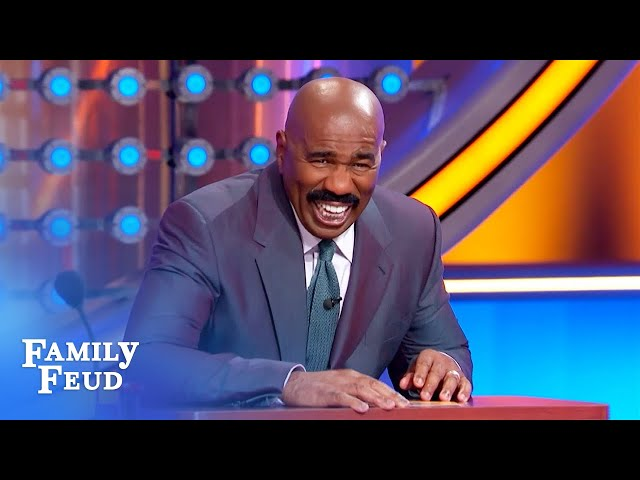Nutty question! Steve Harvey cracks up laughing!   Family Feud