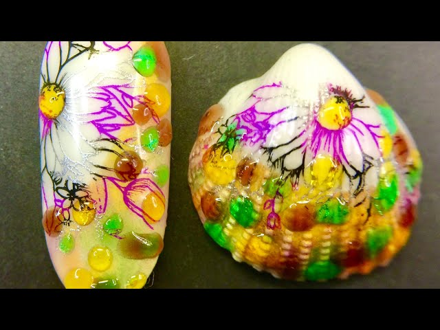 Live_ Flower droplets nail design and seashell stamping art with sticky stamping polish _SheModern