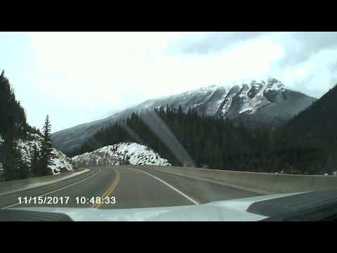 Driving West HWY 1 thru Canmore, Alberta , Nov 15 2017. PART 2