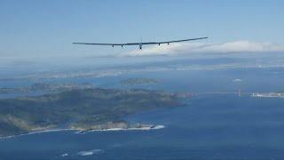 Solar plane flying over Pacific Ocean
