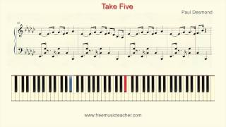 "How To Play Piano: Paul Desmond ""Take Five"" ver2 Piano Tutorial by Ramin Yousefi"