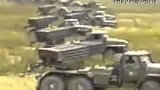 Залп российских БМ 21 'Град' по позициям грузин в Приси