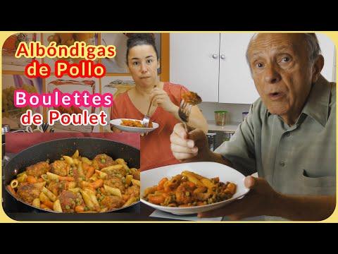 🇫🇷-boulettes-de-poulet,-légumes-et-pâtes-🇪🇦-albóndigas-de-pollo,-guisantes-y-macarrones-🇬🇧meatballs