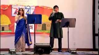 Debarshi and Paramita singing Adho Alo Chaya te in Rochester,MN