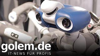 Laufroboter Mantis des DFKI angesehen (Hannover Messe)