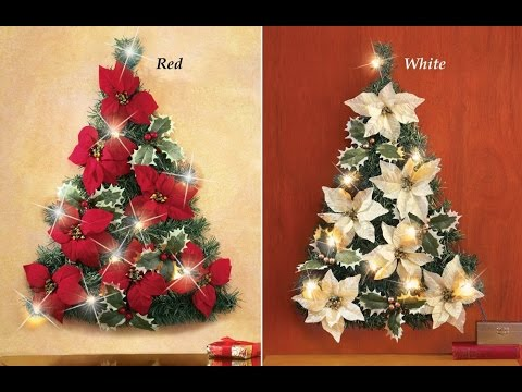 review led lighted poinsettia christmas tree wall decoration red - Christmas Tree Flower Decorations