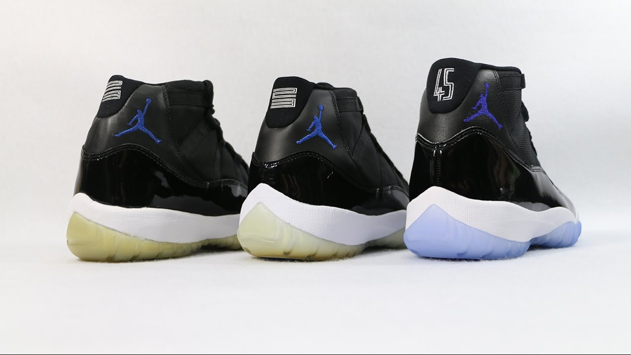 ad2fe74a5f7c76 Comparison - Air Jordan 11 XI Space Jam (2000 vs 2009 vs 2016) - YouTube
