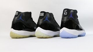 Comparison Air Jordan 11 XI Space Jam 2000 Vs 2009 Vs 2016