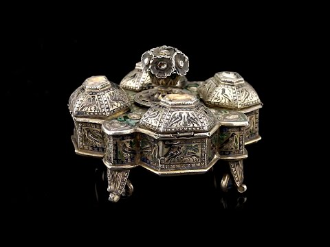ANTIQUE 18th:19thC RARE INDIAN MUGHAL SOLID SILVER GEM SET & ENAMEL SPICE BOX
