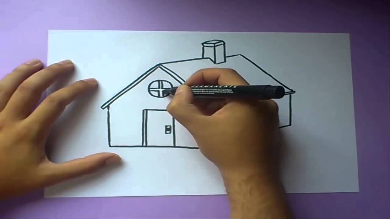 Como dibujar una casa paso a paso how to draw a house for Sala facil de dibujar