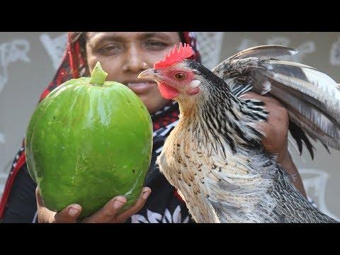 Village Food Farm Fresh Green Papaya Recipe Village Style Healthy Green Papaya & Chicken Cooking