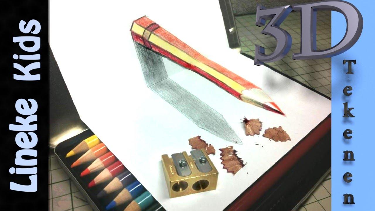 3d tekenen zwevend potlood uit papier voor kids youtube for Tekenen 3d
