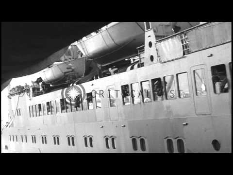 US troops disembark from USNS Upshur at a pier in Lebanon. HD Stock Footage