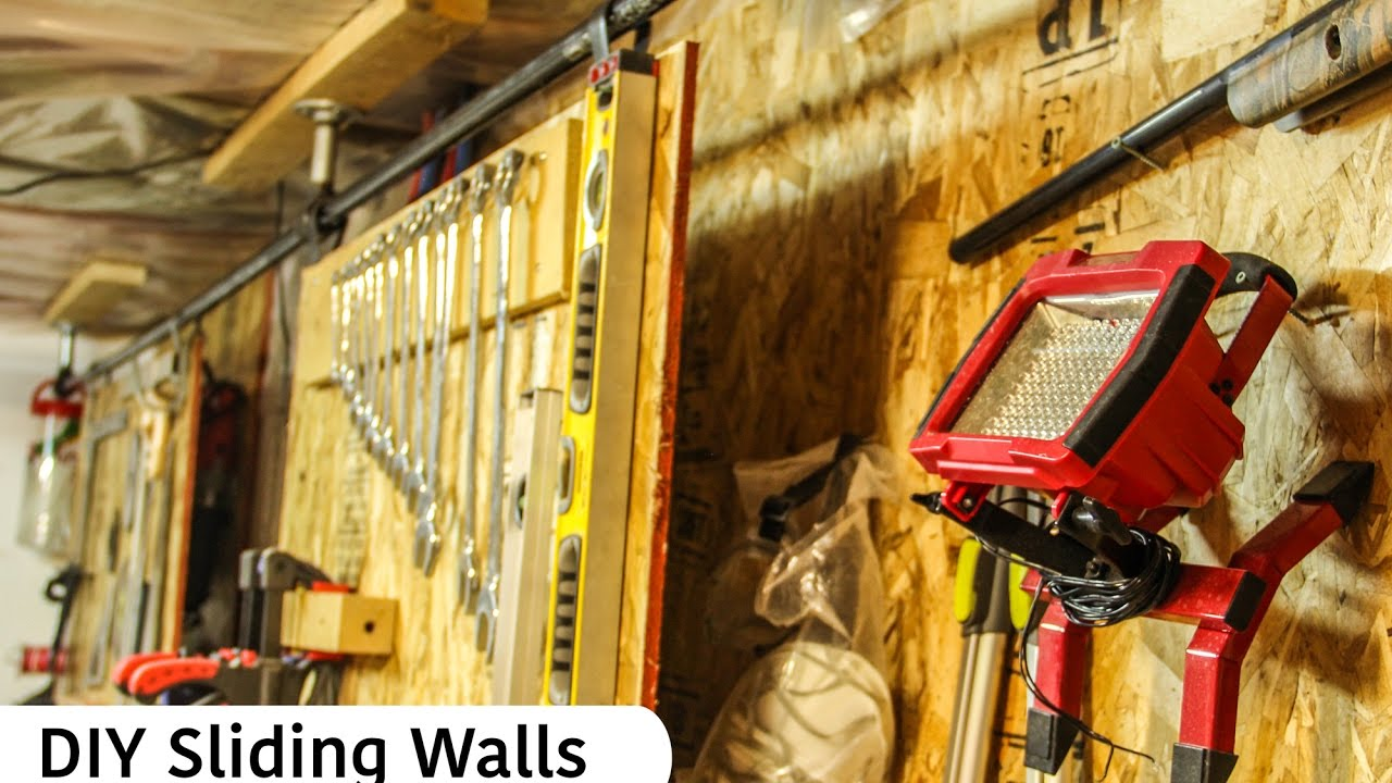 DIY sliding double wall - Garage storage idea - YouTube