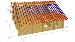 видео Кровля деревянного дома из бревна