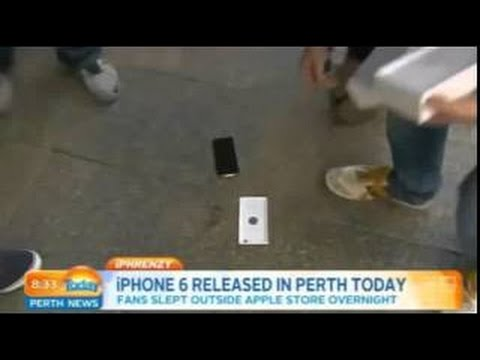 First iPhone 6 sold in Perth Australia droppen by kid during the interview