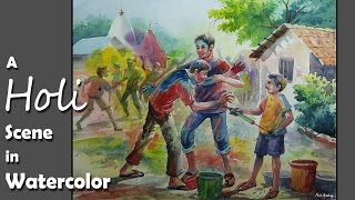 Watercolor Painting | A Composition on Holi (Festival of Colors) | step by step