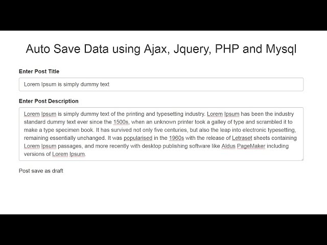 Auto Save Data using Ajax, Jquery, PHP and Mysql