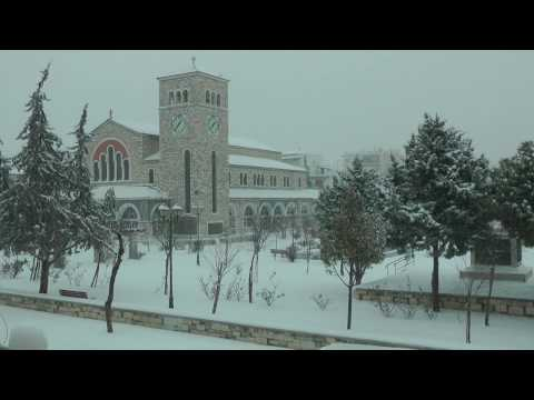 snow at Volos Greece