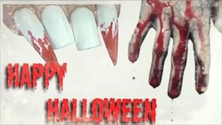 BLOODY VAMPIRE TEETH ~ ACRYLIC AND GEL NAILS | ABSOLUTE NAILS