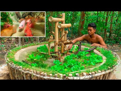 Build Unique Aquarium Fish Tank And Bamboo Water Wheel Oxygen By Ancient Skill For Red Fish